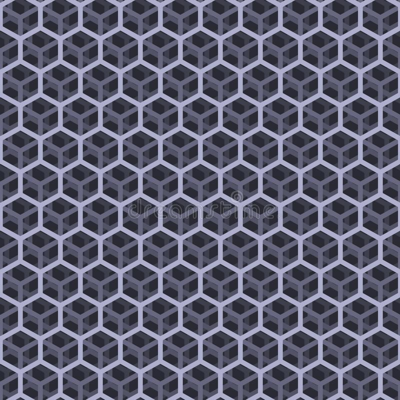 无缝的灰色立方体样式 向量例证