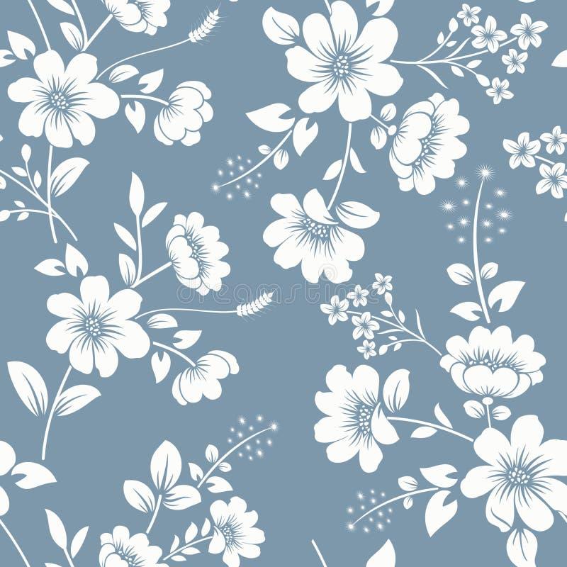 无缝的灰色蓝色和白色花卉背景 向量例证