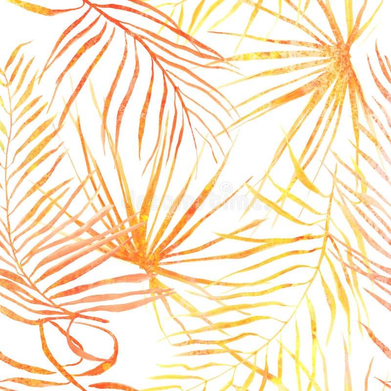无缝的热带叶子样式 库存例证