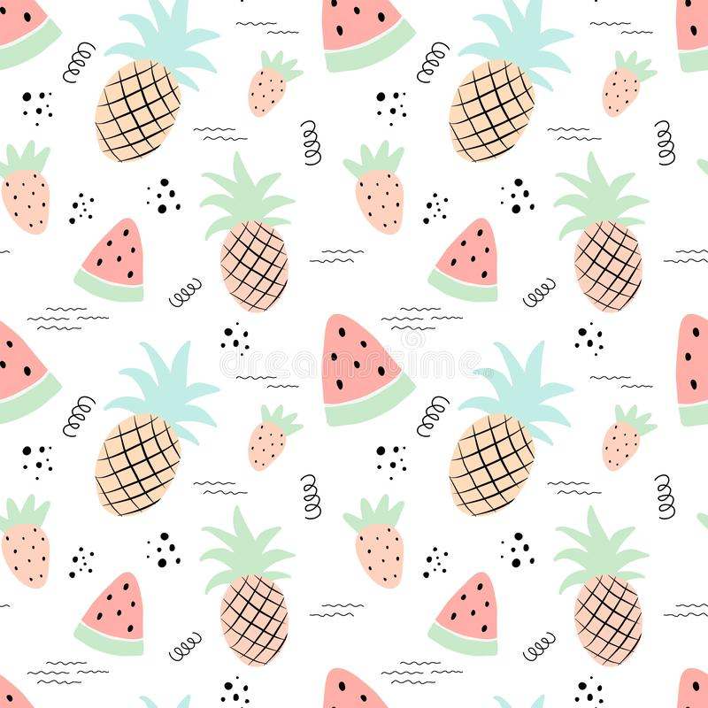 无缝的热带样式用菠萝,西瓜,草莓 传染媒介一群火鸟的夏天例证孩子的,纺织品, 库存例证