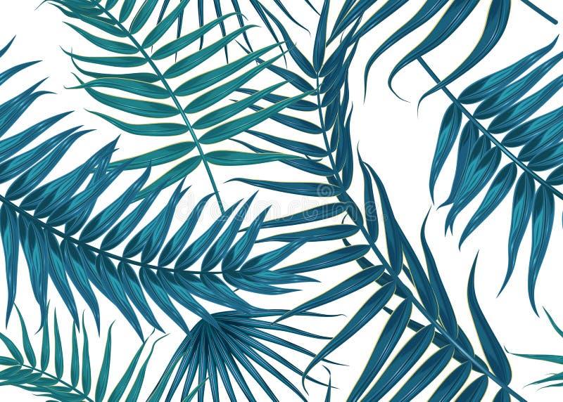 无缝的热带样式,与棕榈树的异乎寻常的背景分支,叶子,叶子,棕榈叶 不尽的纹理 库存图片