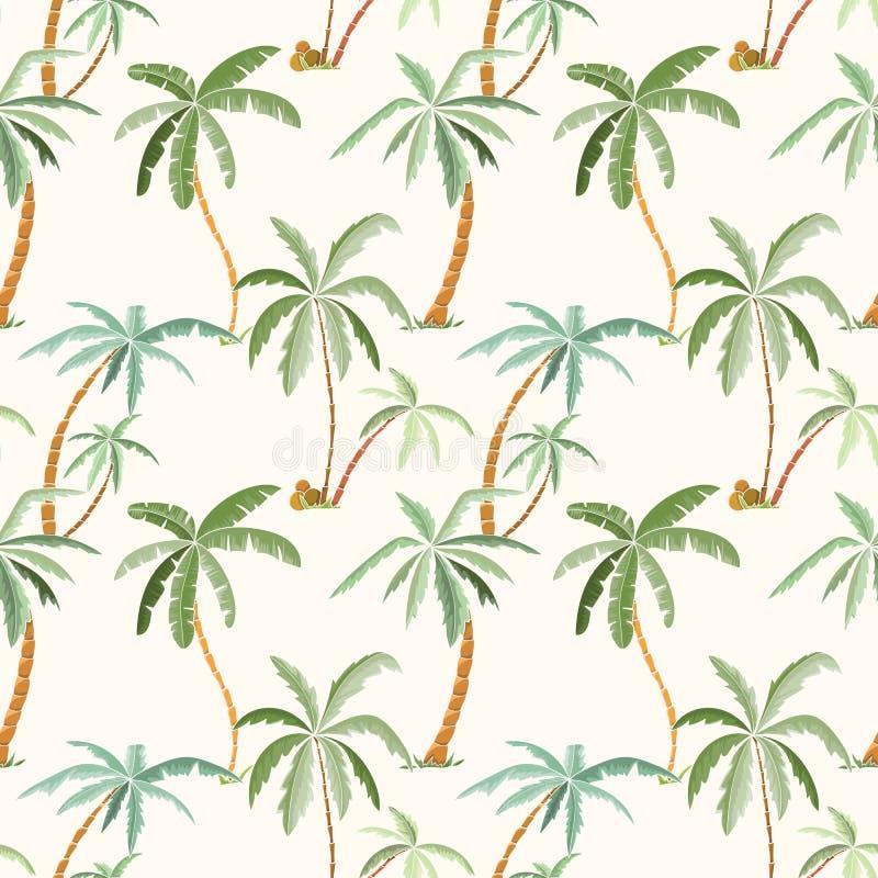 无缝的热带棕榈样式 向量例证