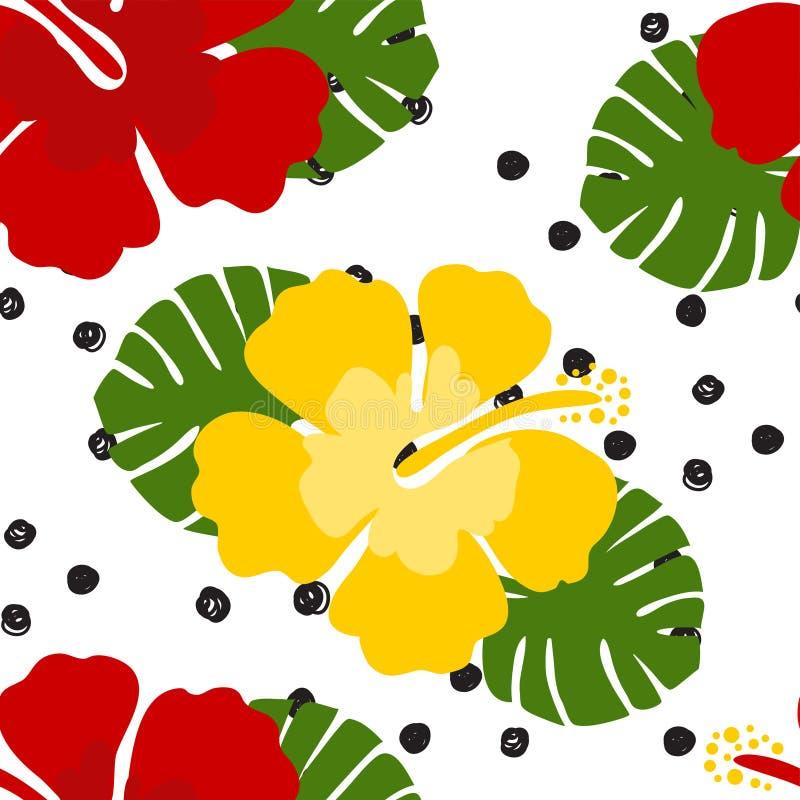 无缝的热带花卉样式背景 木槿在黑白圆点背景,无缝的样式开花 皇族释放例证