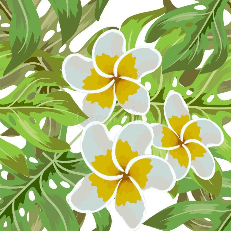 无缝的热带花 热带花和密林棕榈 与的美好的织品样式在背景的热带花 库存例证