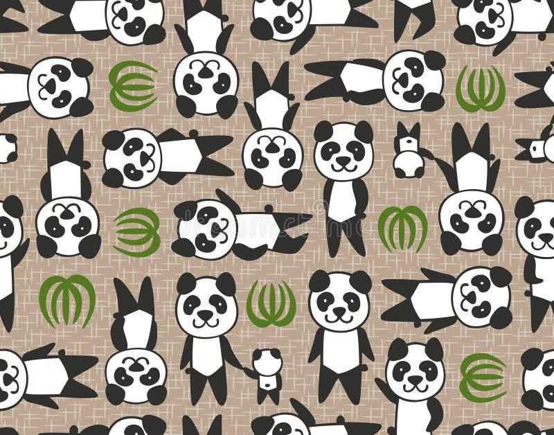 无缝的熊猫动画片样式 库存例证