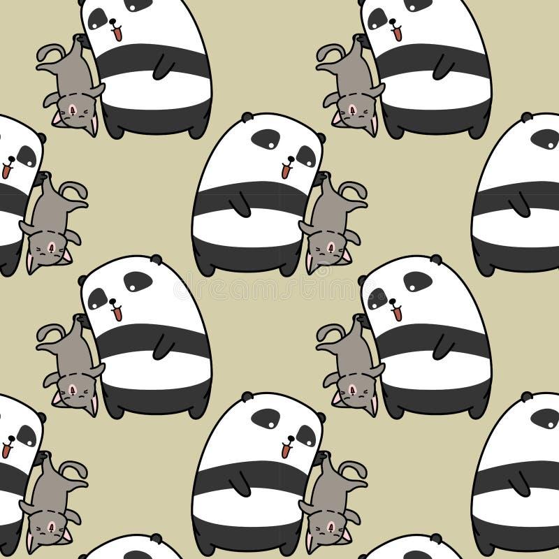 无缝的熊猫捉住猫样式 向量例证