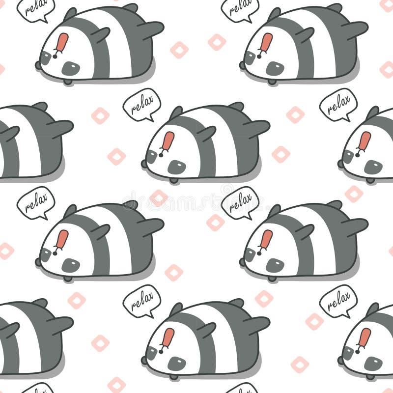 无缝的熊猫是懒惰样式 皇族释放例证