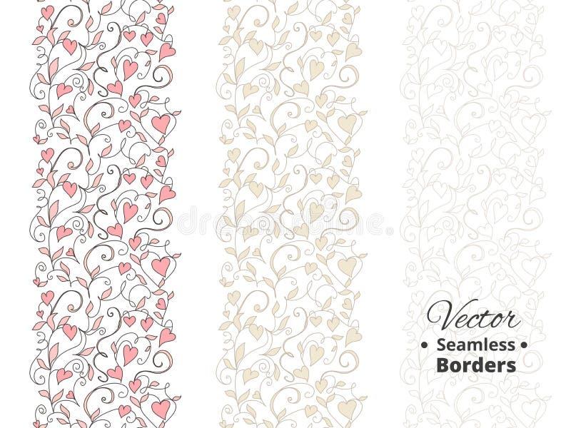 无缝的爱边界,与心脏的婚姻的花卉样式 Tileable,可以无限地被重复 库存例证