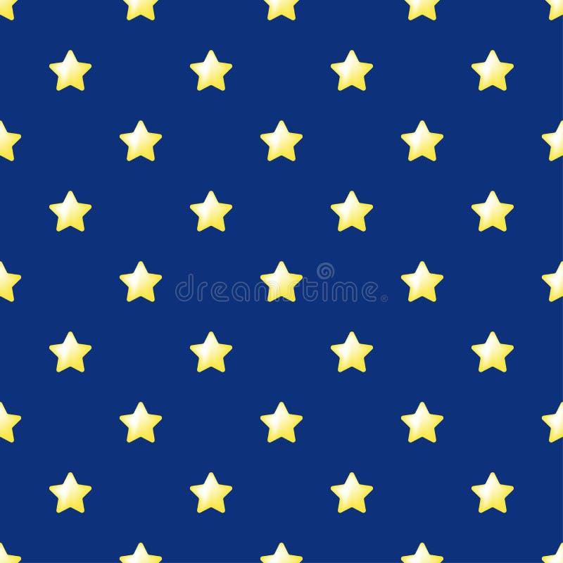 无缝的特征模式传染媒介 在蓝色背景的黄色星 任何网络设计或纺织品的平的简单的样式 向量例证