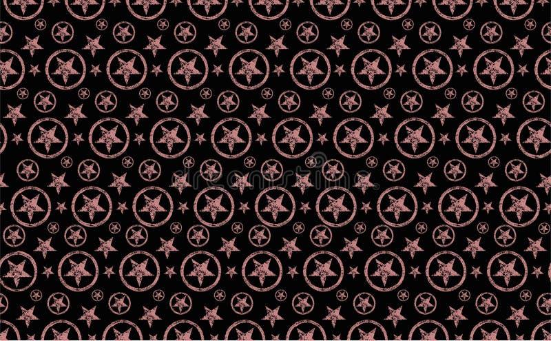 无缝的特征模式 黑背景和粉红彩笔橙色难看的东西星在圈子 皇族释放例证