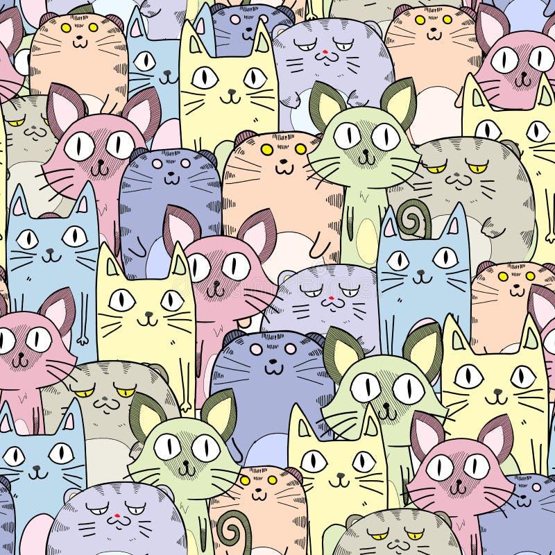 无缝的猫样式 库存例证