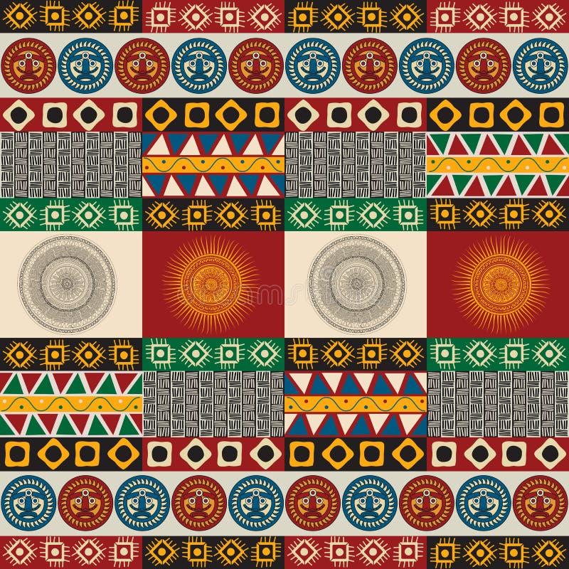 无缝的玛雅,阿兹台克样式 向量例证