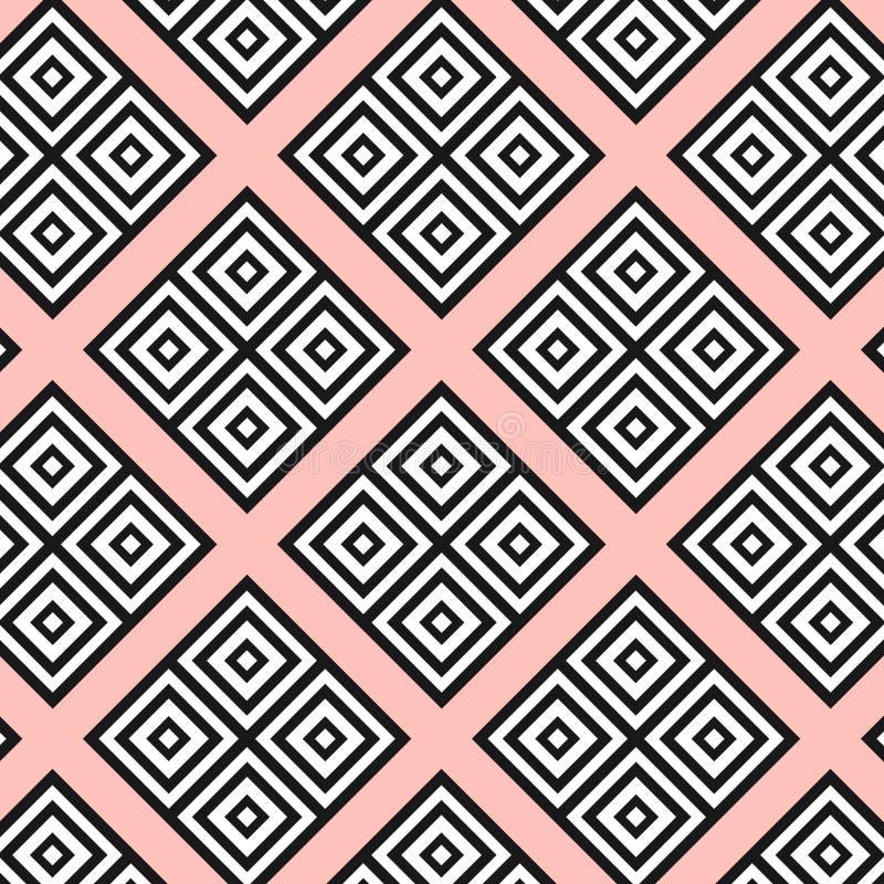 无缝的现代几何纹理在桃红色背景摆正 在白色形状的黑色 rombs,正方形 纺织品,织品样式 P 库存例证
