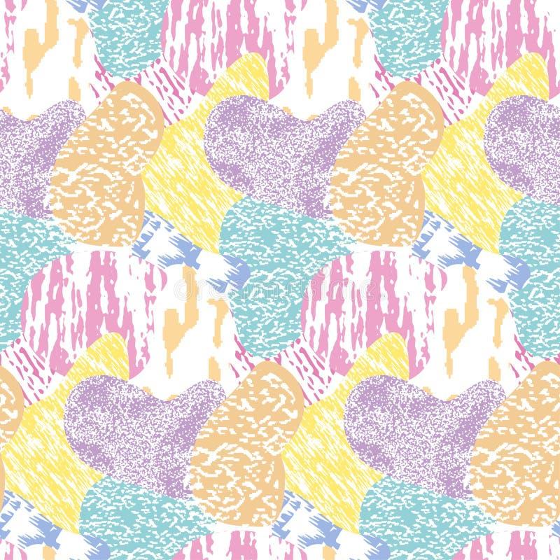 无缝的现代被构造的,五颜六色的难看的东西样式 与多色组合图表装饰品的背景 EPS10 皇族释放例证
