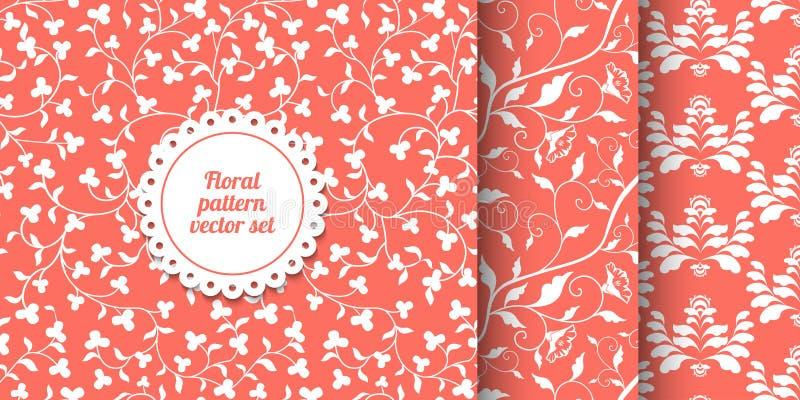 无缝的珊瑚桃红色花卉样式的汇集 居住的珊瑚- 2019颜色年 白色laves和花导航纹理 库存例证