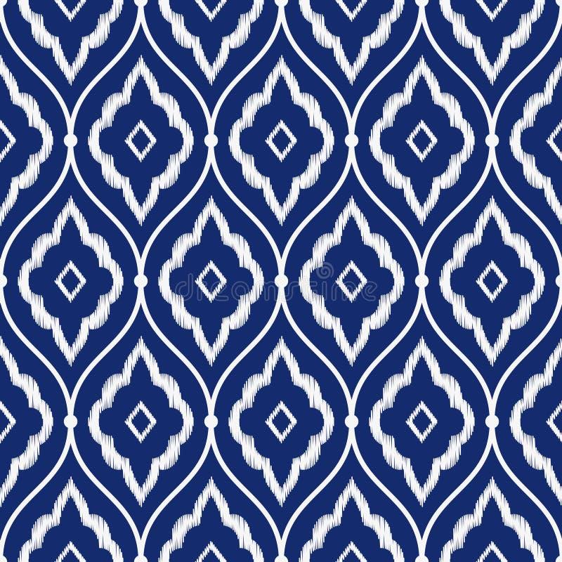 无缝的瓷靛蓝色和白色葡萄酒波斯ikat仿造传染媒介 库存例证