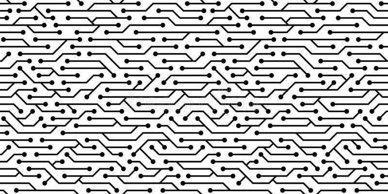 无缝的电路板样式 传染媒介微集成电路背景 库存例证