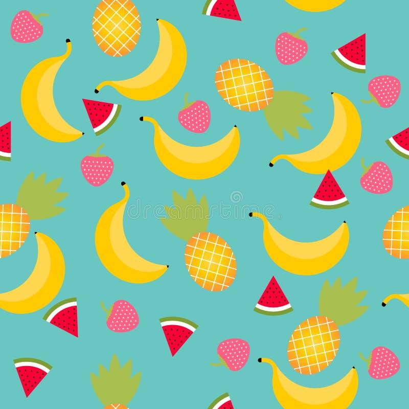 无缝的盖瓦传染媒介样式背景与夏天结果实:菠萝,西瓜,香蕉,草莓 皇族释放例证