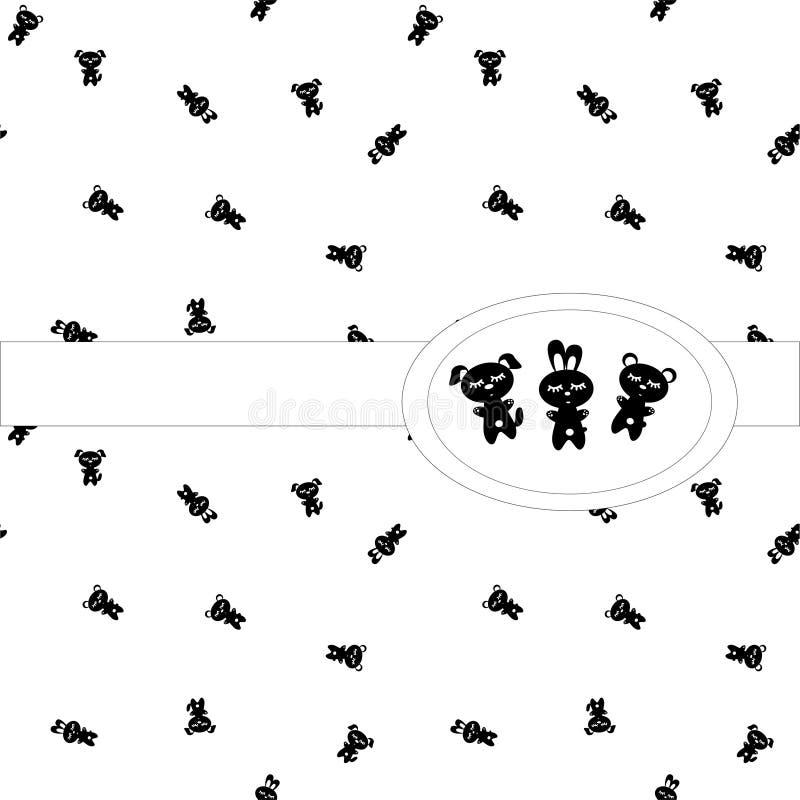 无缝的睡眠模式 在白色背景的黑白字符 睡觉小的熊,banny,小狗 向量例证
