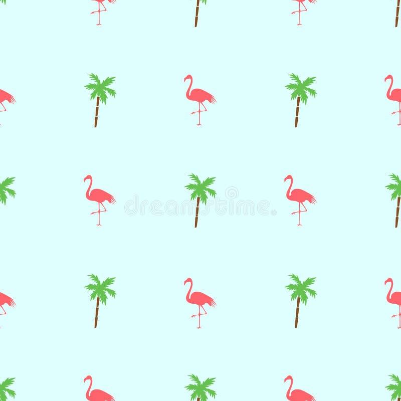 无缝的秀丽火鸟和棕榈树在绿色背景 皇族释放例证