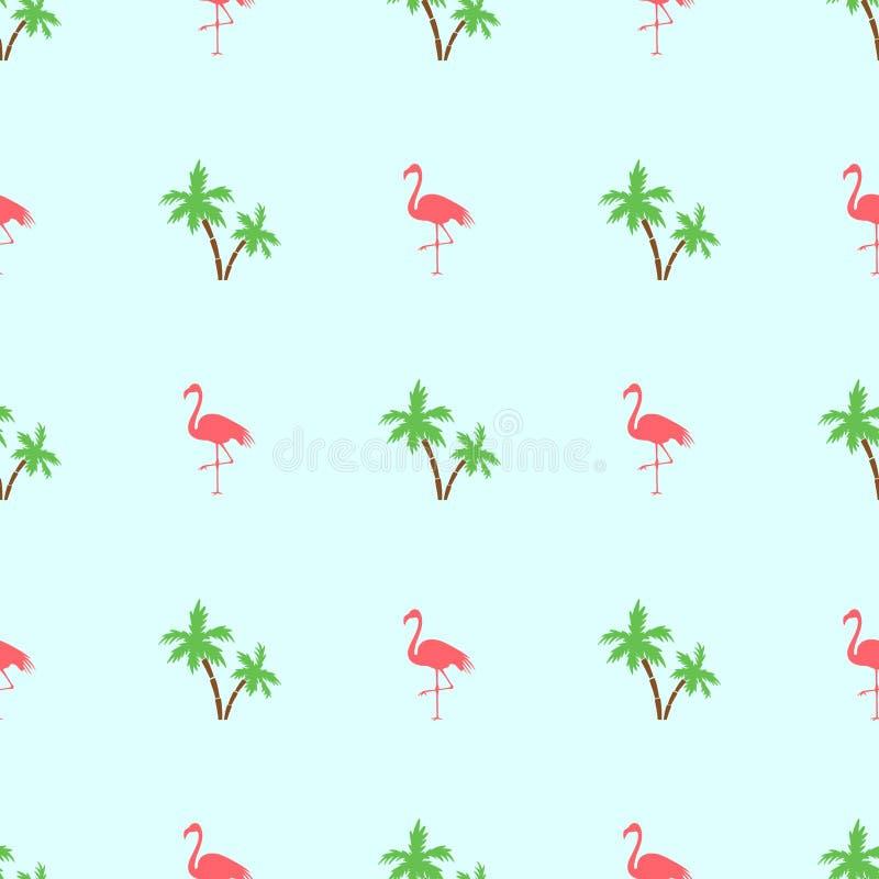 无缝的秀丽火鸟和棕榈树在绿色背景 库存例证