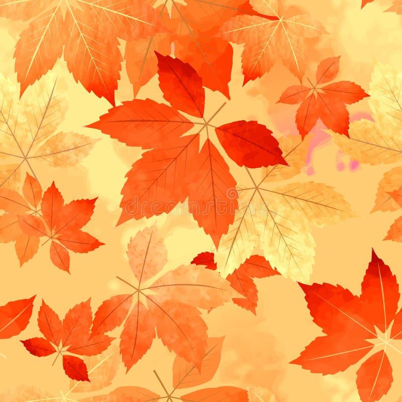 无缝的秋天叶子秋天样式 向量例证