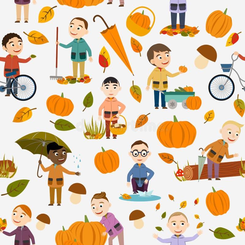 无缝的秋天夹克的样式不同的男孩使用与叶子,使纸小船下水,骑自行车,运载的南瓜 向量例证