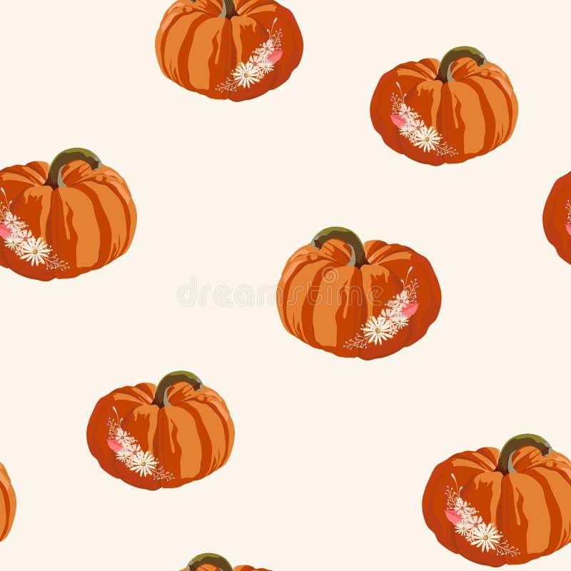 无缝的秋天样式用南瓜和花 万圣节 也corel凹道例证向量 库存例证