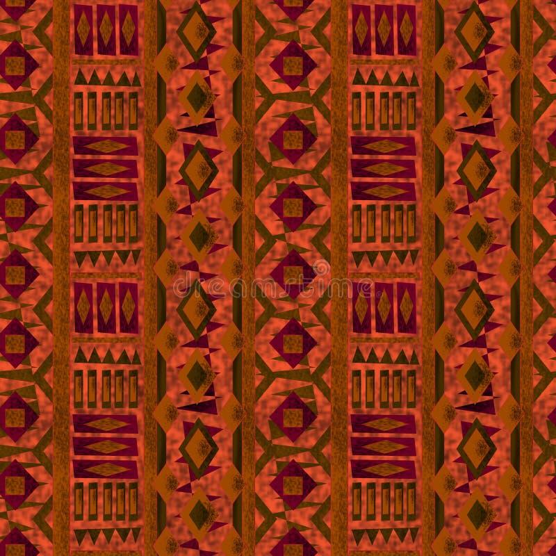 无缝的种族样式纹理绿松石,绿色,红色,橙色在明亮的背景 向量例证