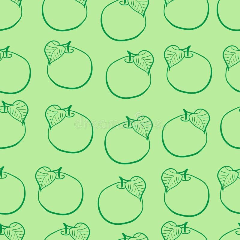无缝的等高绿色苹果 皇族释放例证