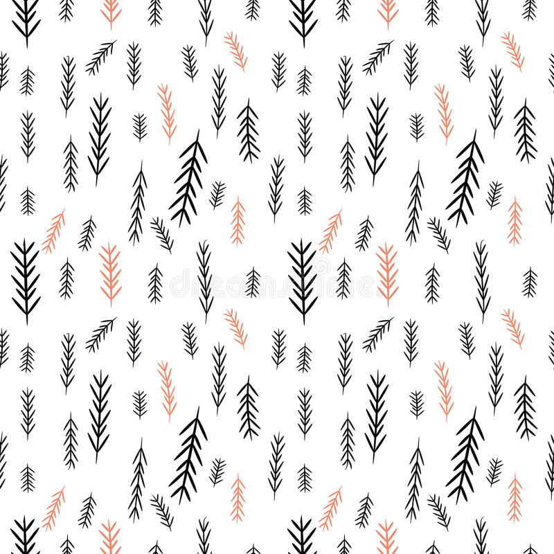 无缝的简单的向量图形样式 瓦片与杉木树的圣诞节背景 快活的圣诞节 库存例证