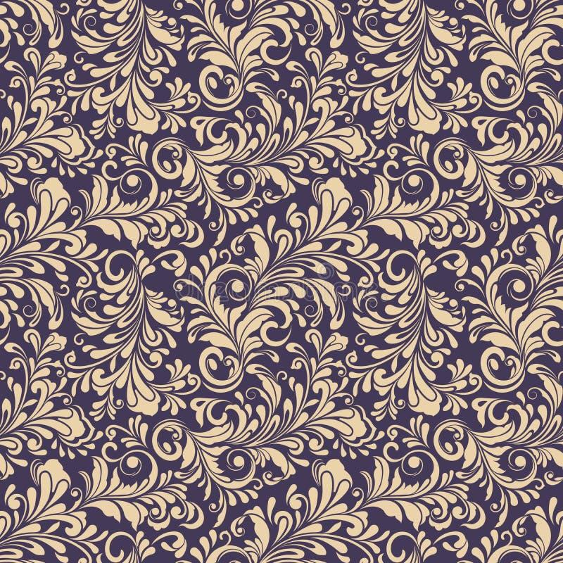 无缝的米黄和黑暗的紫色花卉背景 皇族释放例证