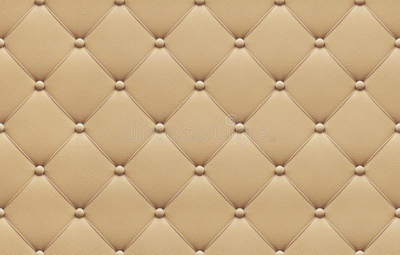 无缝的米黄皮革室内装饰品样式 皇族释放例证