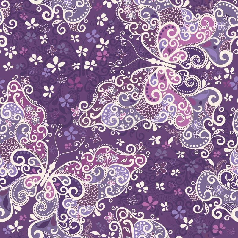 无缝的紫罗兰色杂色的模式 库存例证