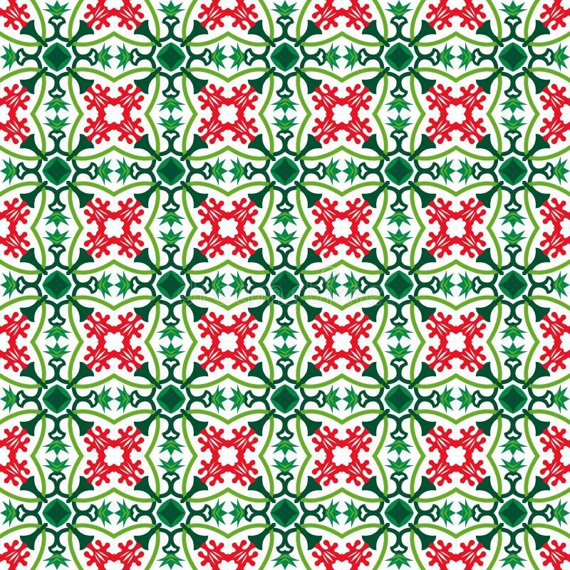 无缝的红色花和绿色花苞仿造bg 皇族释放例证