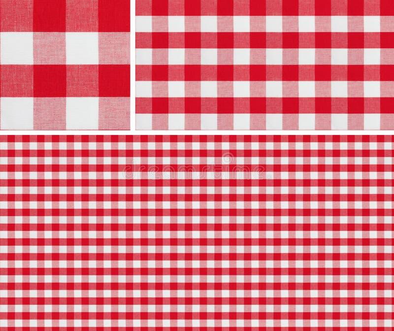 无缝的红色野餐桌布检查了样式和结果样品 免版税图库摄影