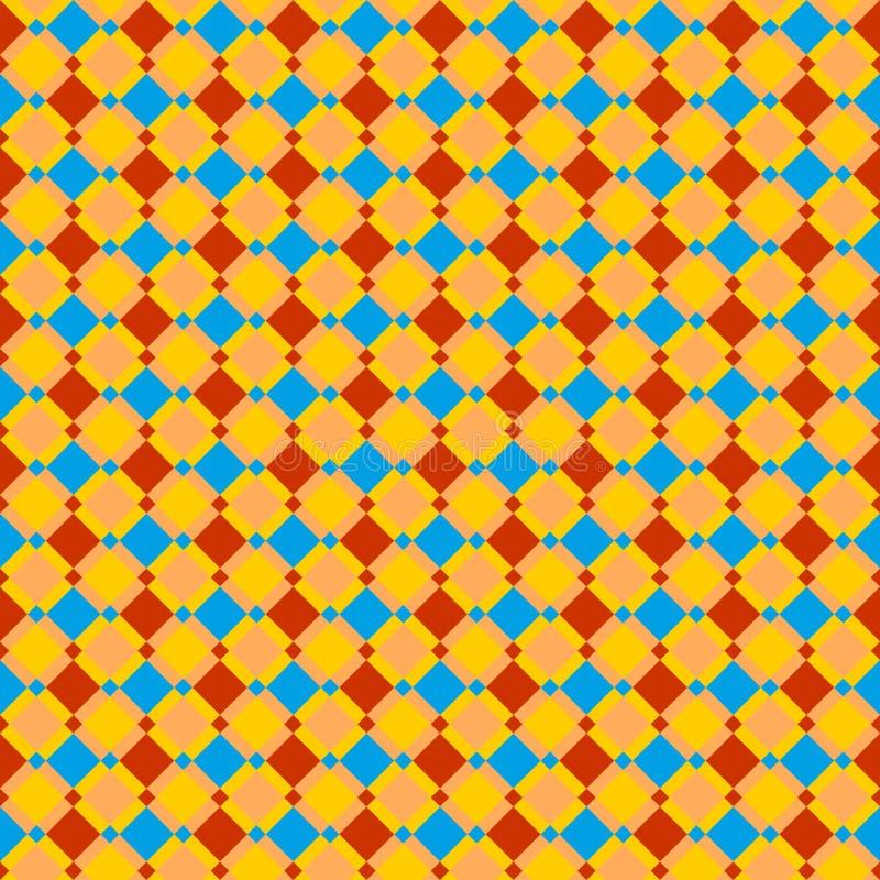 无缝的红色,蓝色和茶黄被检查的样式或背景 皇族释放例证