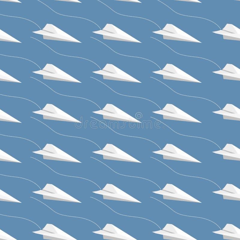 无缝的纸飞机样式 向量例证