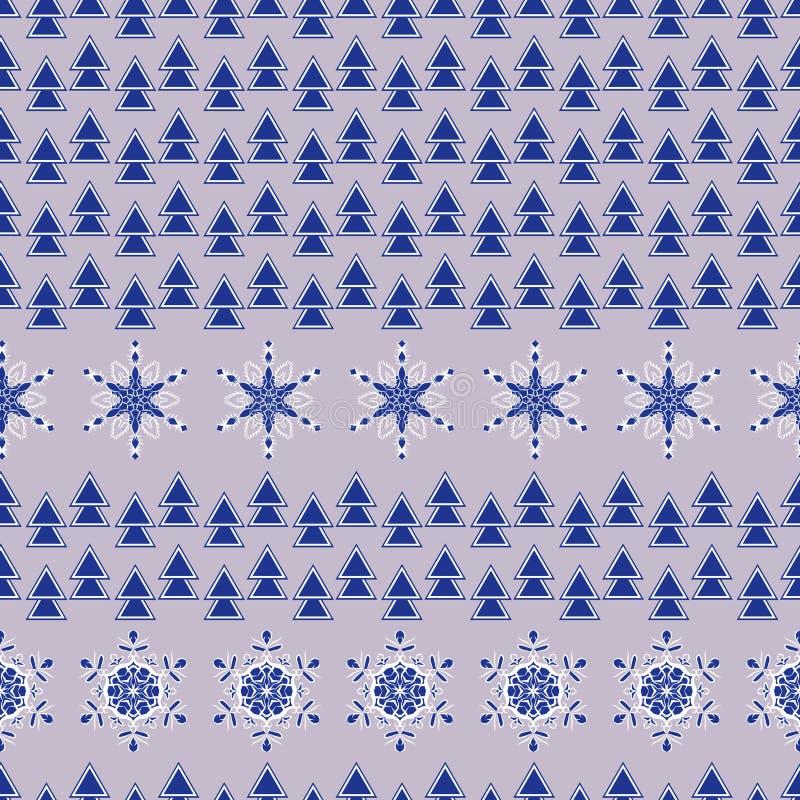 无缝的纹理向量 与风格化装饰雪花和圣诞树的样式 库存例证