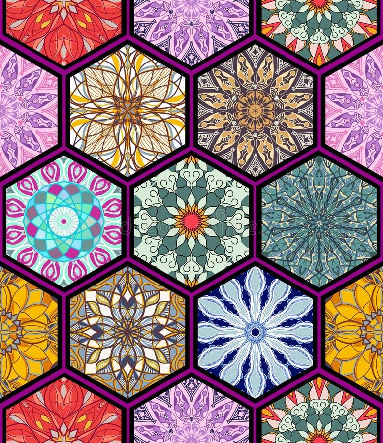 无缝的纹理向量 设计和时尚的美好的兆补缀品马赛克样式与在六角形的装饰元素塑造 库存例证