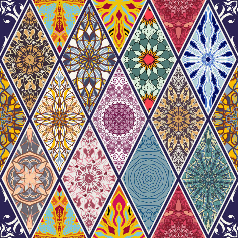 无缝的纹理向量 设计的美好的兆补缀品马赛克与装饰元素的样式和时尚在菱形 向量例证