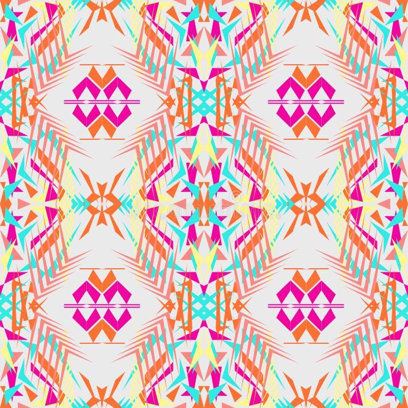 无缝的纹理向量 部族几何样式 电镀boho颜色趋向 阿兹台克装饰样式 库存例证