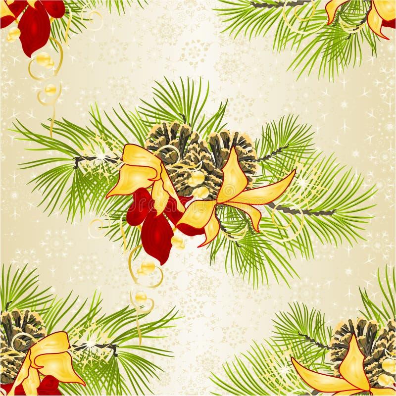 无缝的纹理圣诞节和新年装饰与杉木锥体的杉树分支与在whi的金黄和红色欢乐一品红 皇族释放例证