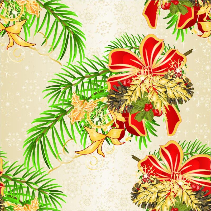 无缝的纹理圣诞节和新年装饰圣诞节云杉树弓欢乐一品红和弓和杉木锥体假日i 库存例证