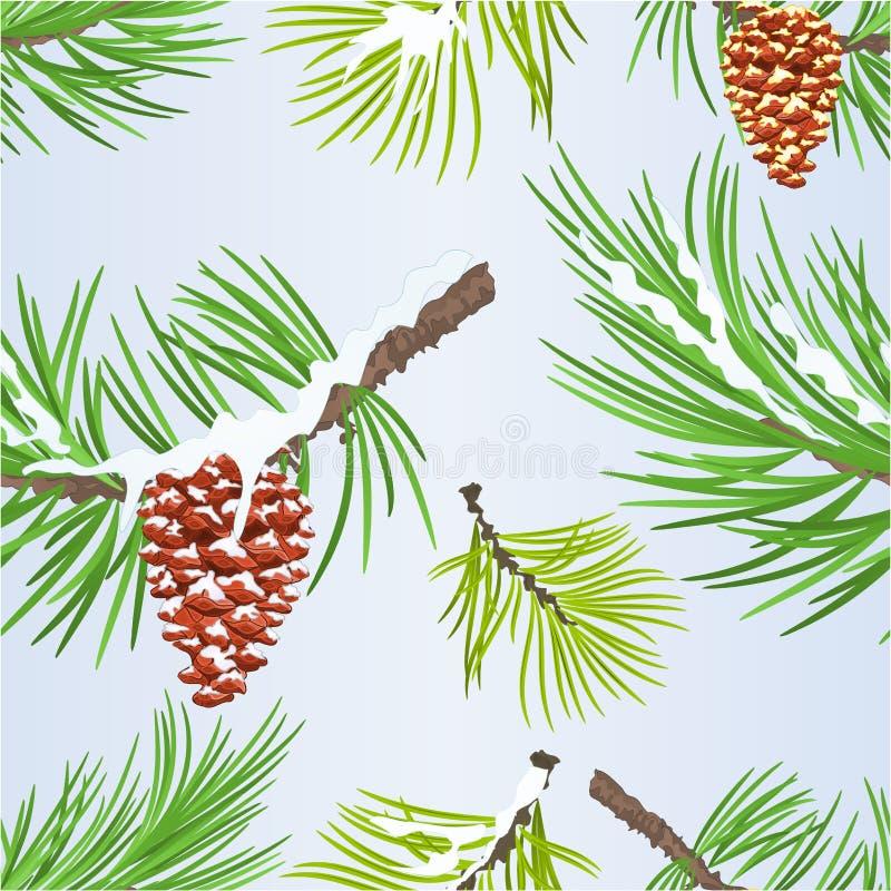 无缝的纹理圣诞节和新年装饰金黄杉木的锥体和雪杉木锥体杉树分支葡萄酒传染媒介illustr 库存例证