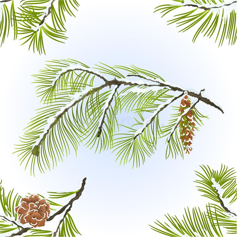 无缝的纹理杉树和杉木锥体分支冬天多雪的自然本底葡萄酒导航编辑可能的例证 向量例证