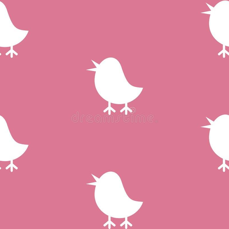 无缝的纹理样式传染媒介逗人喜爱的剪影小鸡容易的商标 皇族释放例证