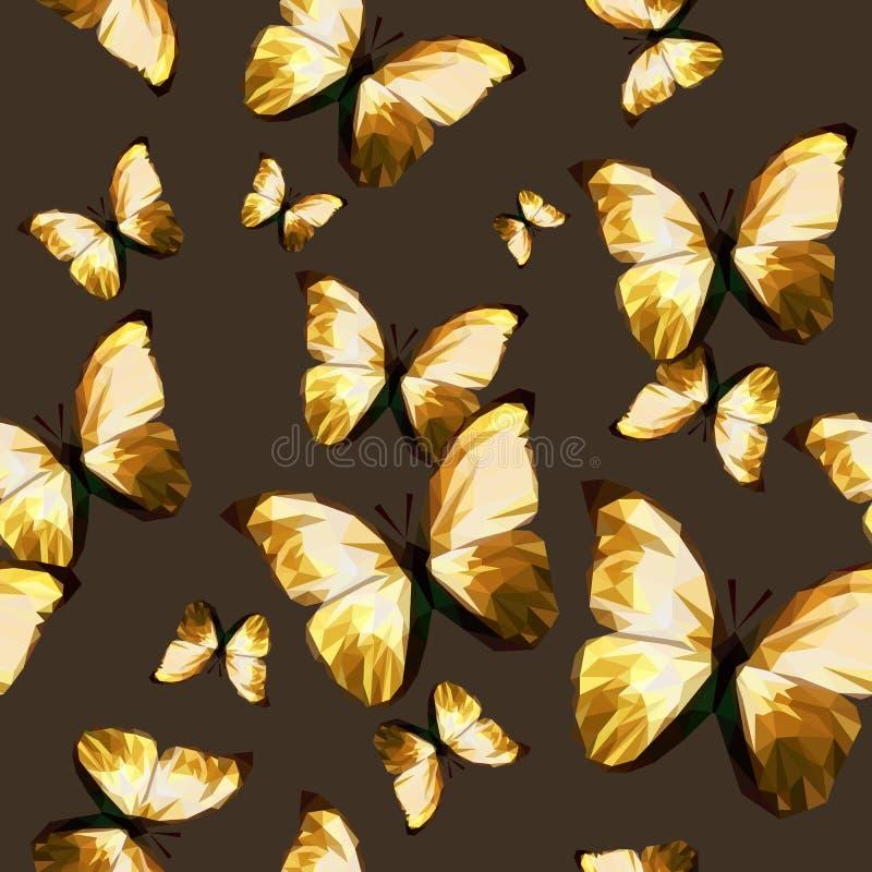 无缝的纹理样式多角形棕色蝴蝶 库存例证