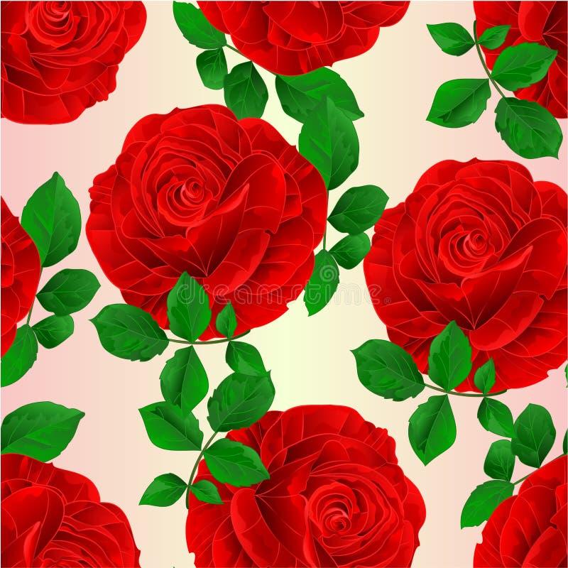 无缝的纹理红色玫瑰和叶子自然本底葡萄酒传染媒介植物的例证编辑可能的手画 皇族释放例证