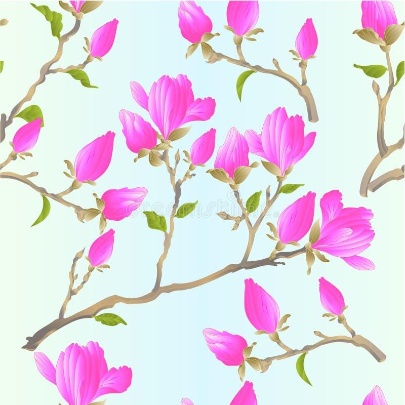 无缝的纹理词根中国木兰开花的桃红色花和芽有叶子植物的春天草本背景葡萄酒传染媒介的 库存例证
